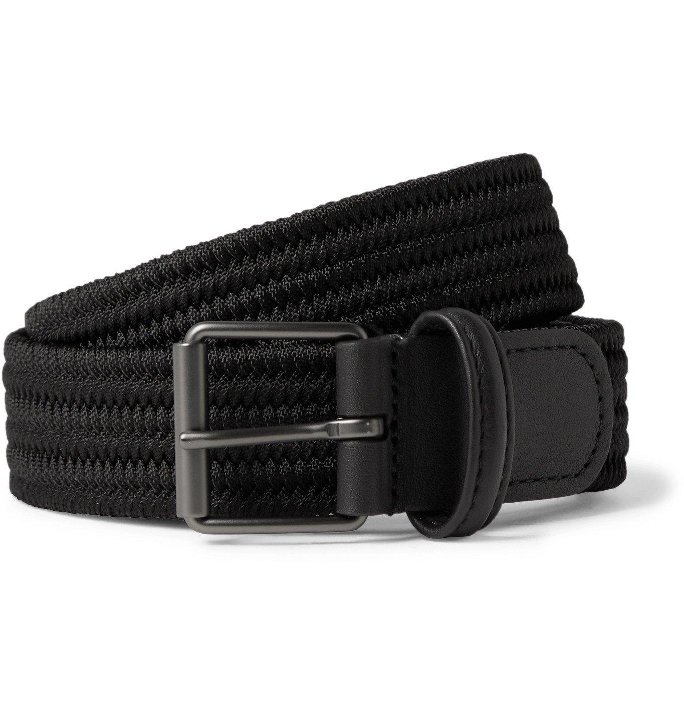 Photo: Anderson's - 3.5cm Leather-Trimmed Woven Elastic Belt - Black