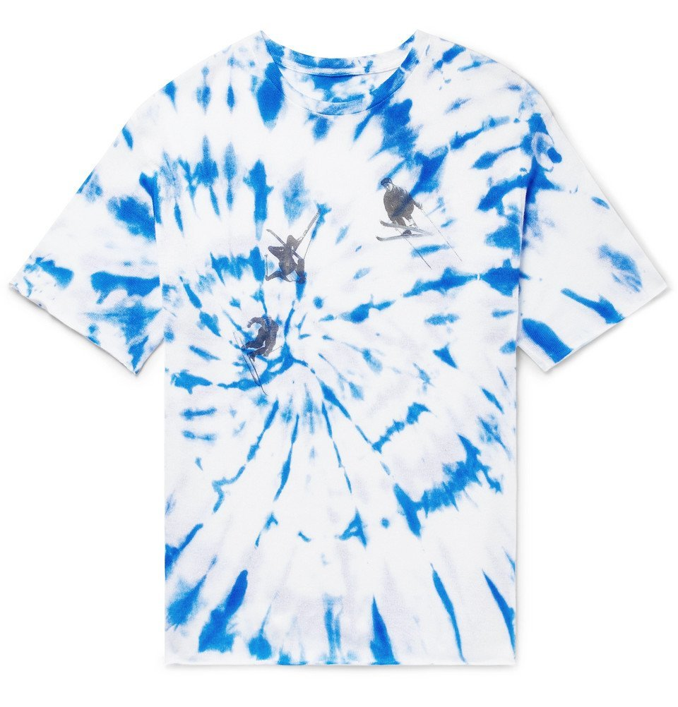 Photo: The Elder Statesman - Printed Tie-Dyed Cashmere and Silk-Blend T-Shirt - Blue