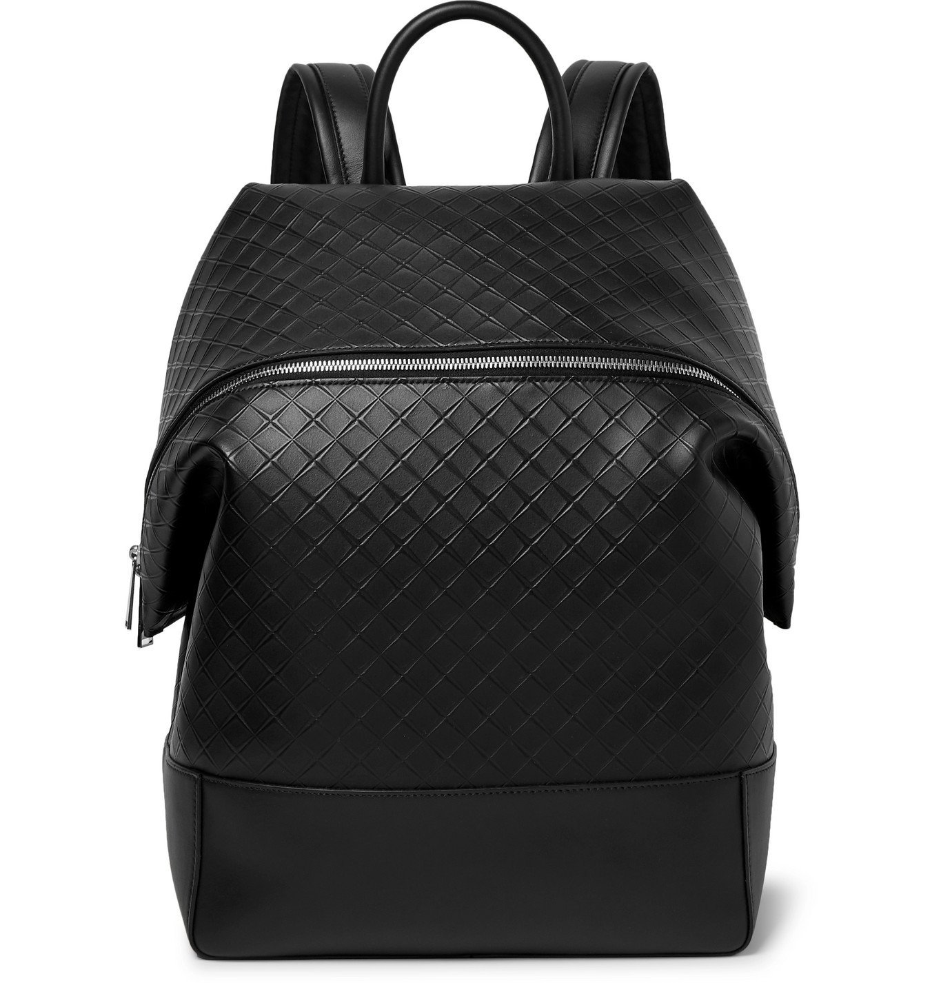 Photo: Bottega Veneta - Intrecciato-Embossed Leather Backpack - Black