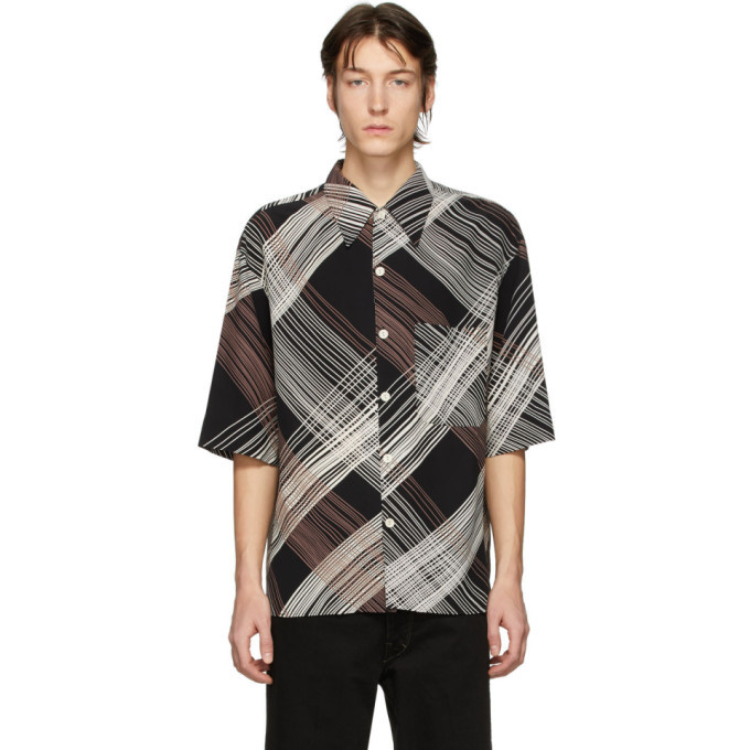 Photo: Lemaire Black Convertible Collar Short Sleeve Shirt