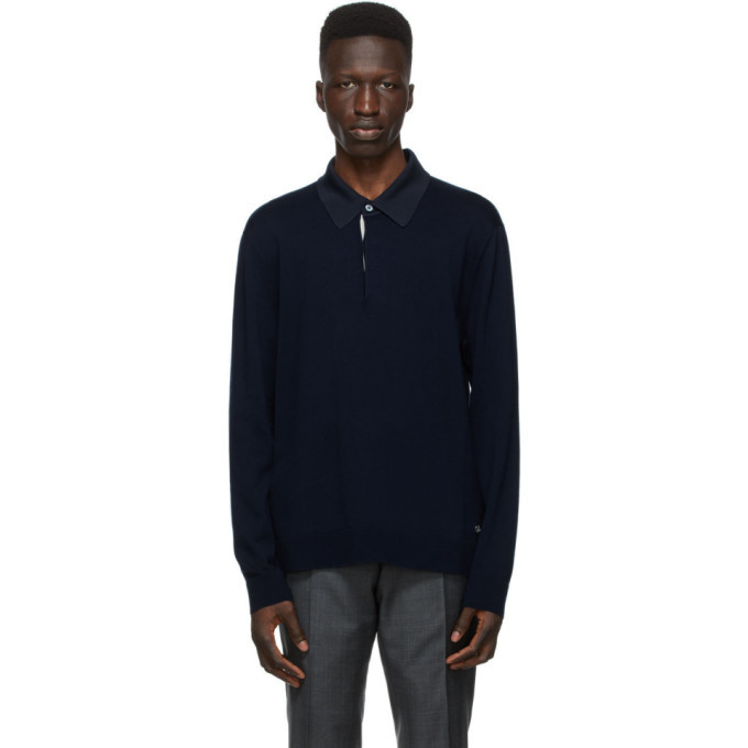 Photo: Dunhill Navy Contrast Long Sleeve Polo