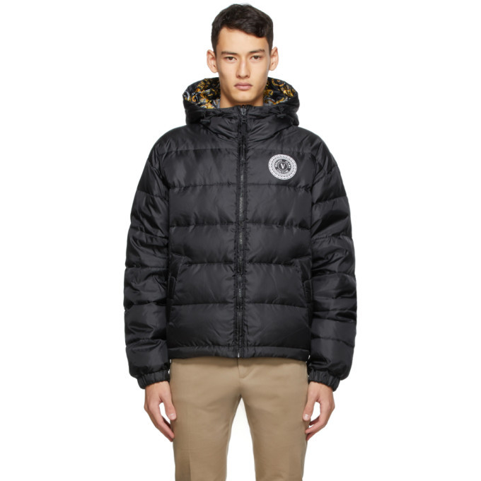 Photo: Versace Jeans Couture Reversible Black Down Baroque Puffer Jacket