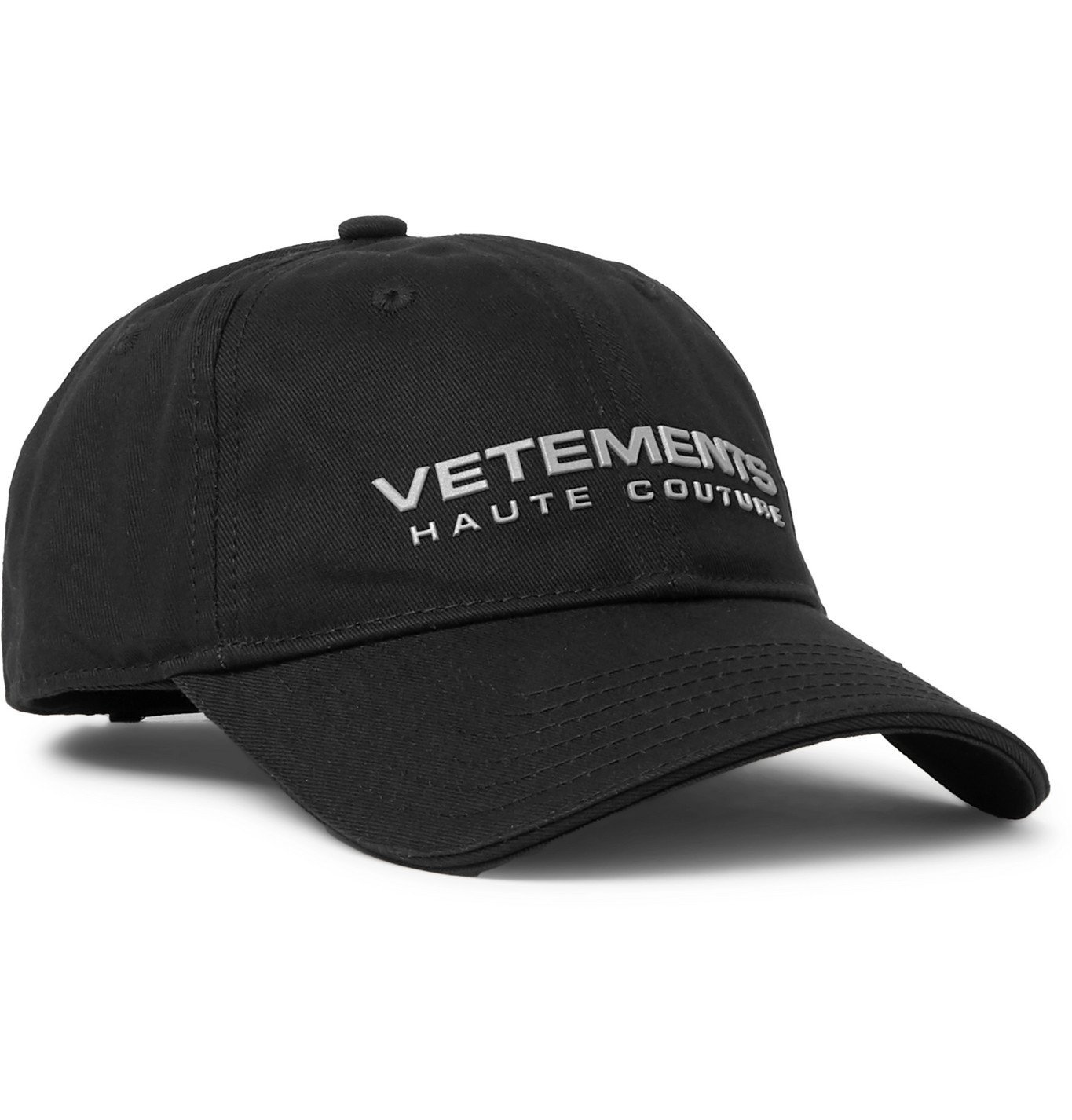 Photo: Vetements - Logo-Appliquéd Cotton-Twill Baseball Cap - Black