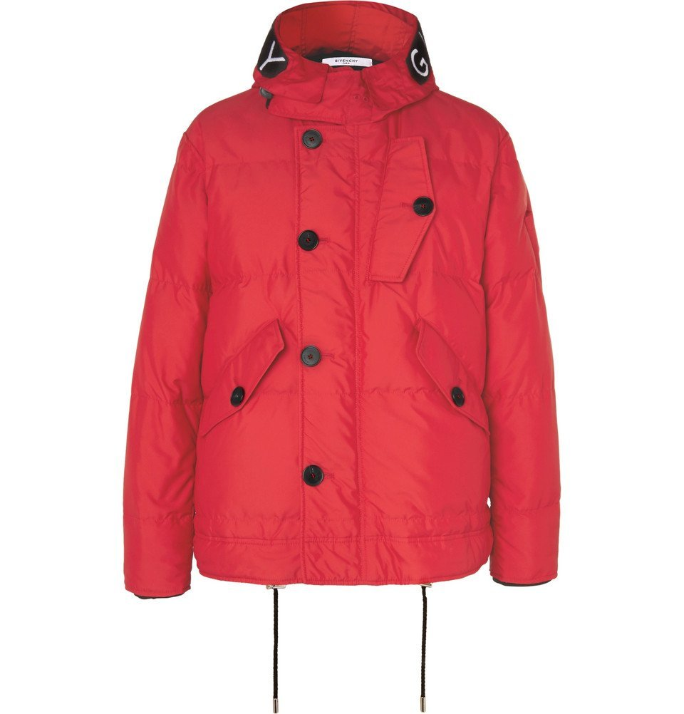 Photo: Givenchy - Embroidered Velcro-Trimmed Padded Shell Down Hooded Jacket - Men - Red