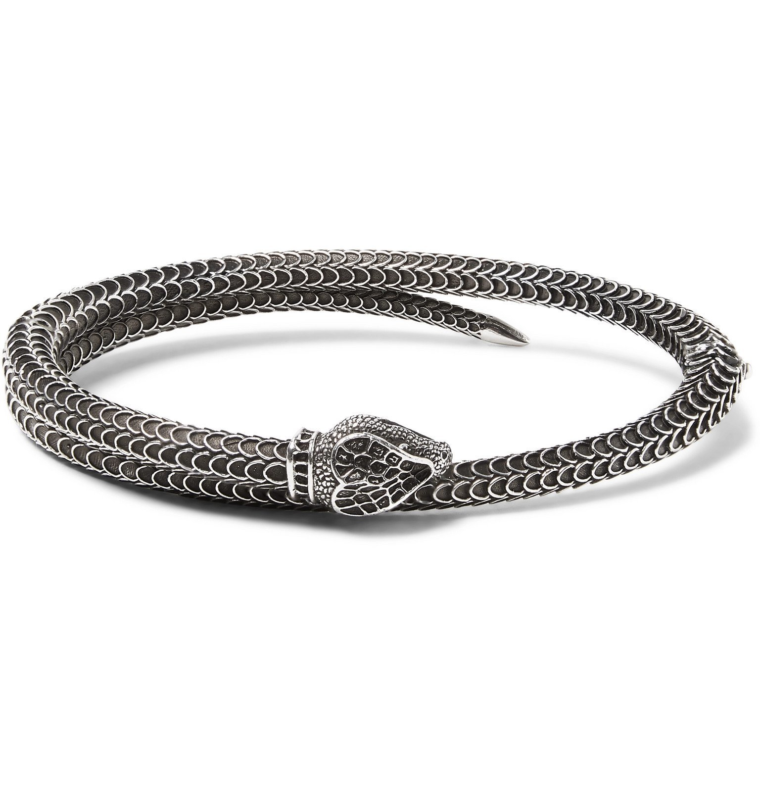 Photo: Gucci - Snake Burnished Sterling Silver Cuff - Silver