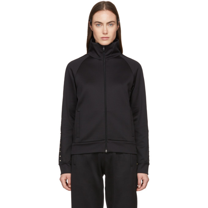 Photo: Valentino Black Rockstud Zip-Up Sweater