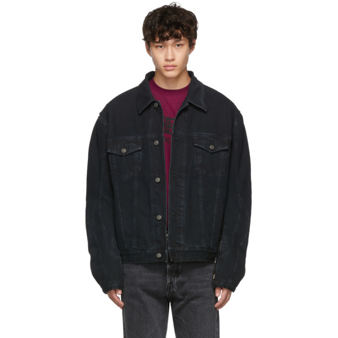 Photo: Balenciaga Navy Denim Biker Jacket