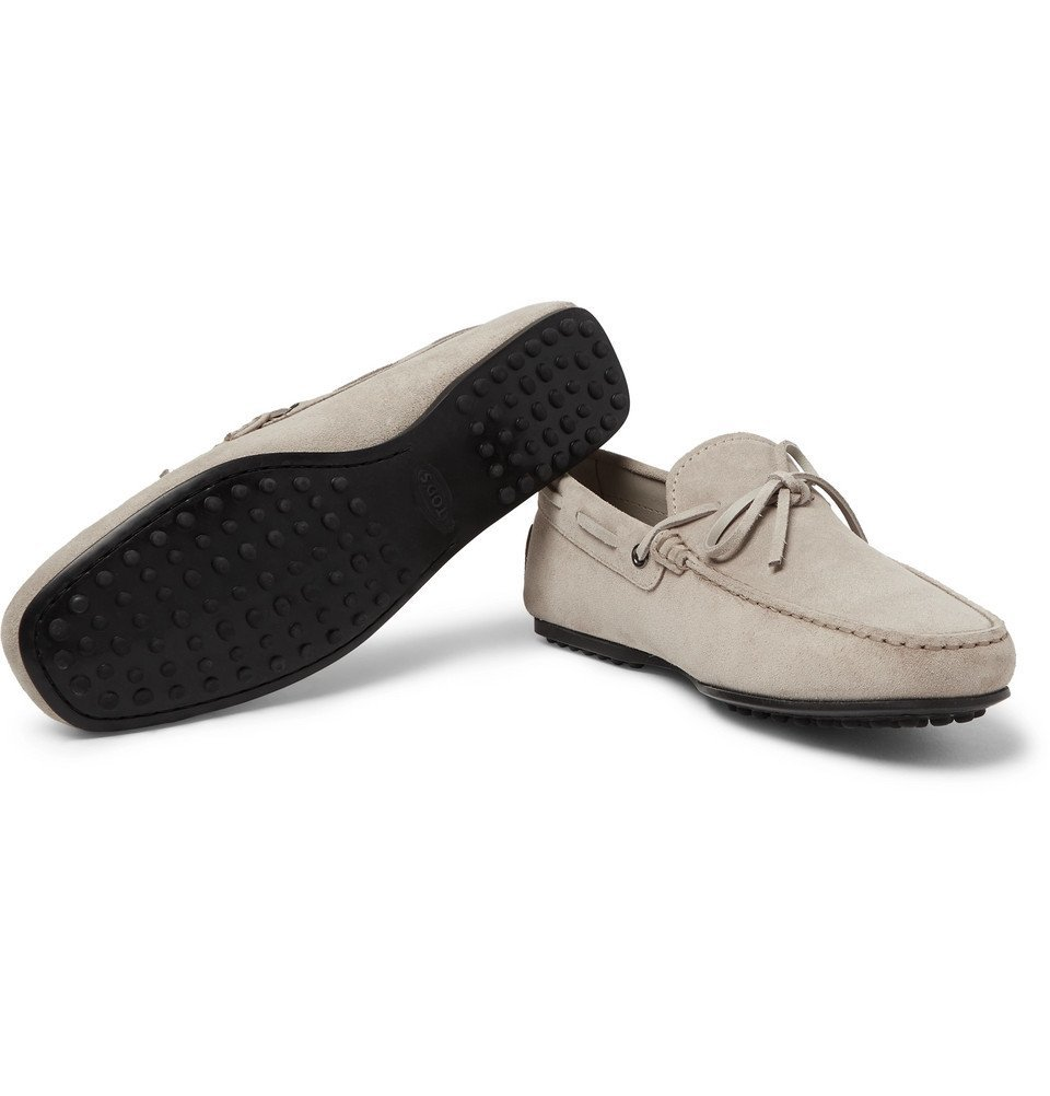 Tod's - City Gommino Suede Driving Shoes - Gray