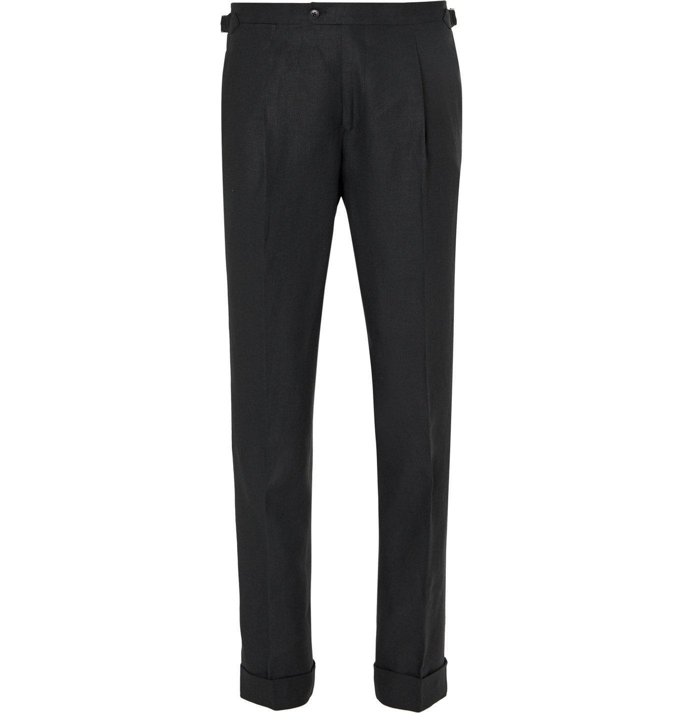 Photo: Saman Amel - Black Tapered Pleated Linen Suit Trousers - Black