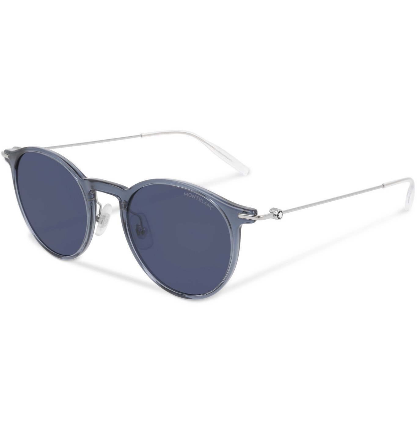Photo: Montblanc - Round-Frame Silver-Tone and Acetate Sunglasses - Unknown