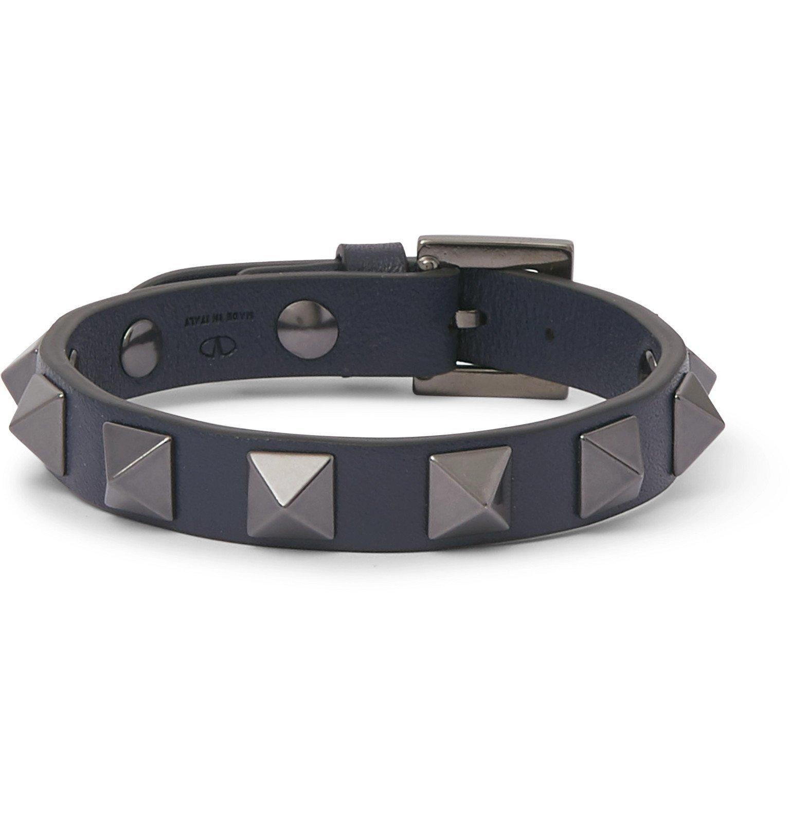 Photo: Valentino - Valentino Garavani Rockstud Leather and Ruthenium Bracelet - Blue