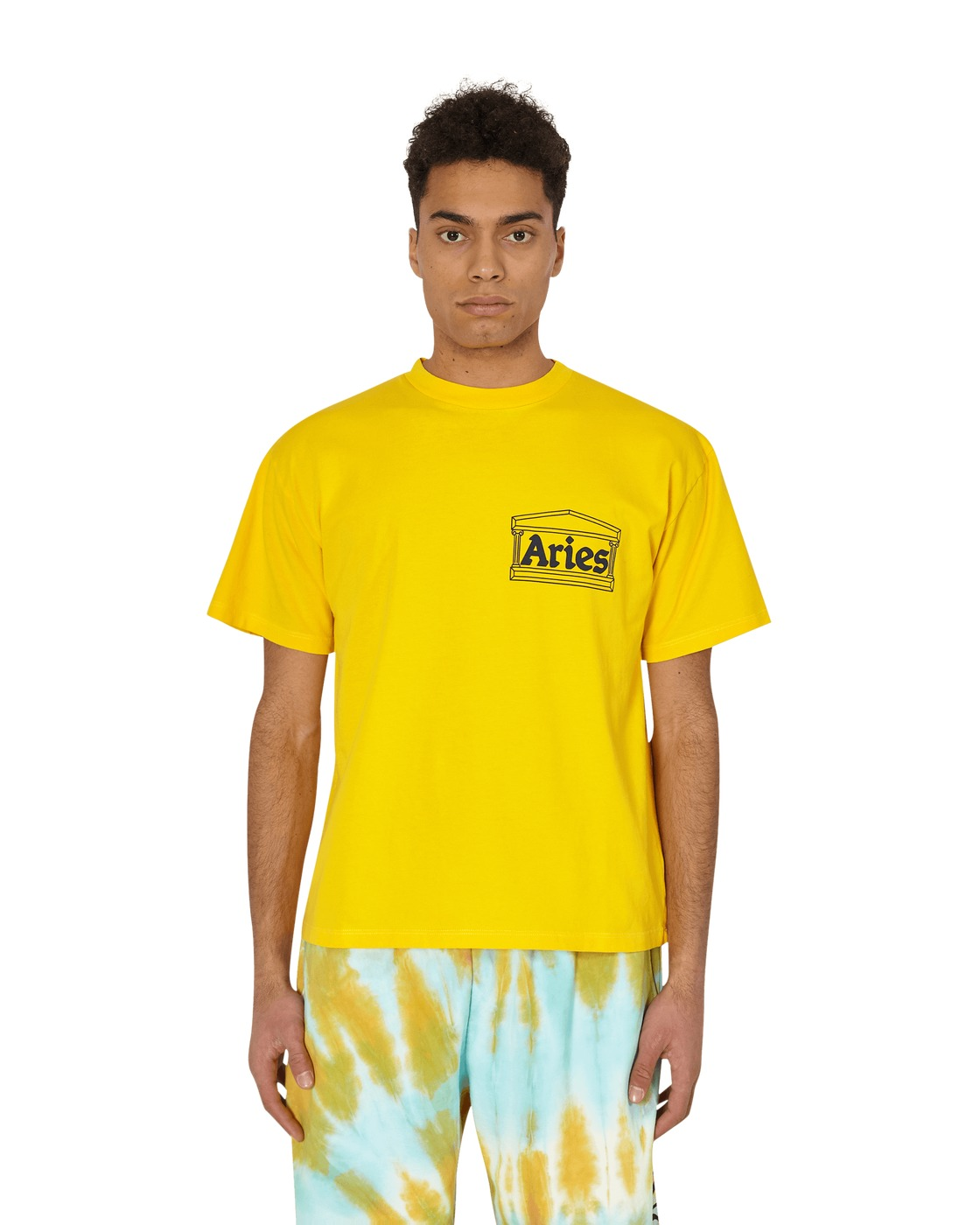 Aries Classic Temple T Shirt Yellow