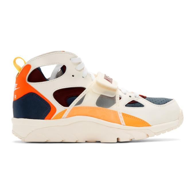 Photo: Nike White and Orange Air Trainer Huarache QS Sneakers