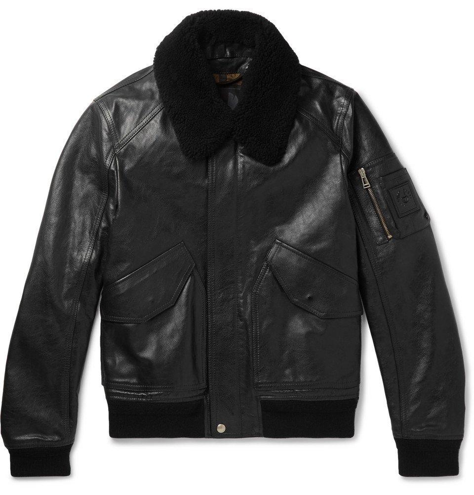 Photo: Belstaff - Arne Shearling-Trimmed Leather Bomber Jacket - Men - Black