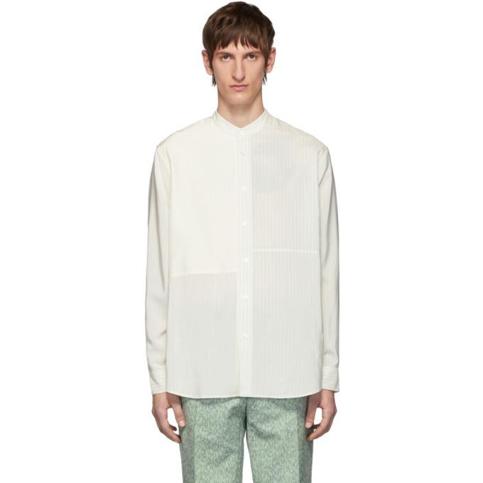 Photo: Jil Sander Off-White Silk Striped Tara Contrast Patch Shirt