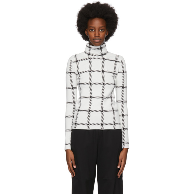Stella McCartney White Plaid Compact Turtleneck