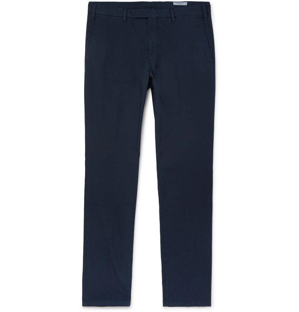 Photo: Boglioli - Navy Slim-Fit Cotton-Blend Poplin Trousers - Navy