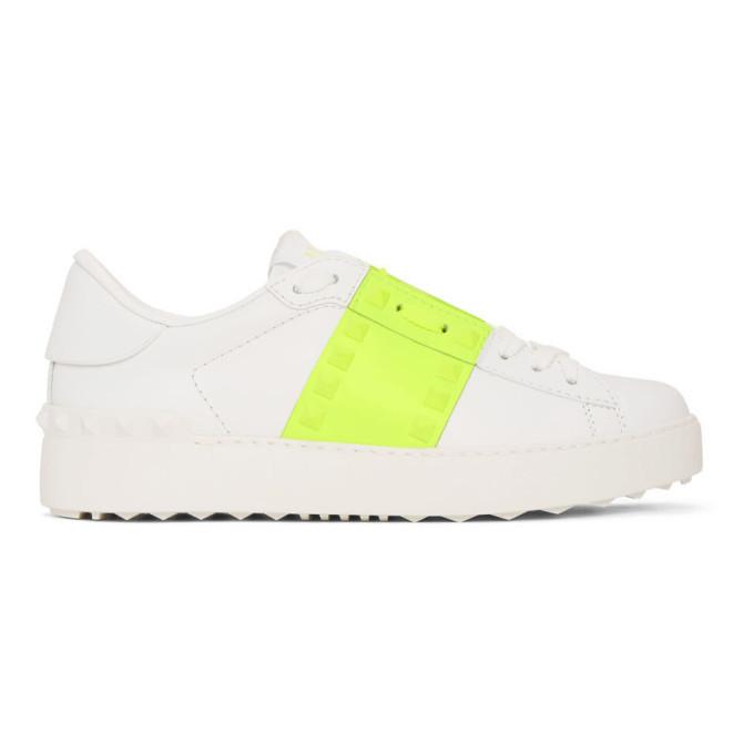 Photo: Valentino White and Green Valentino Garavani Untitled Rockstud Open Sneakers