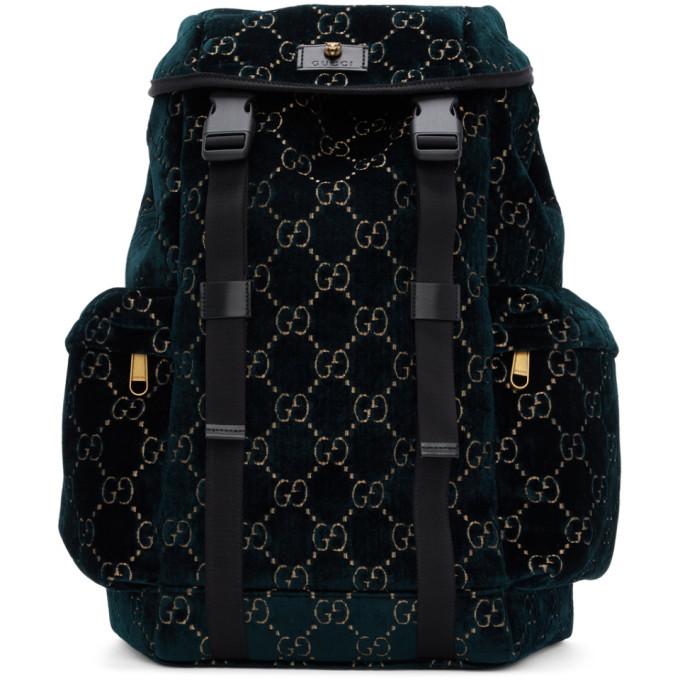 Photo: Gucci Blue Velvet Medium GG Backpack