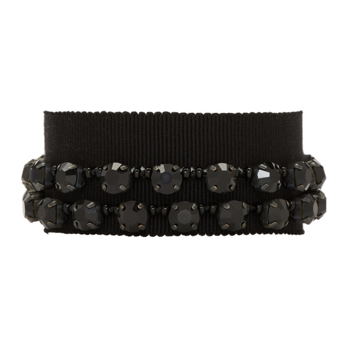 Photo: Ann Demeulemeester Black Stone Glass and Beads Bracelet