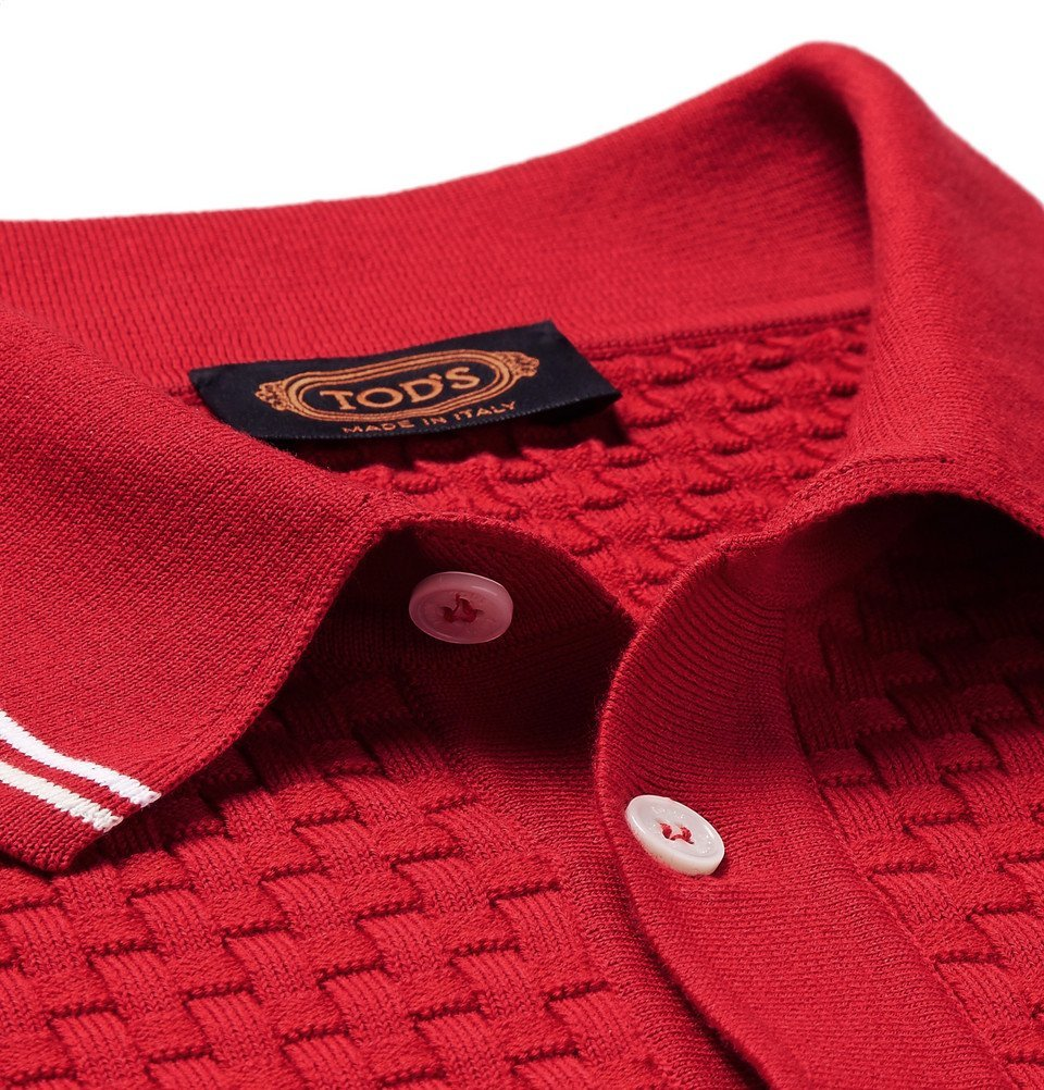 Tod's - Slim-Fit Contrast-Tipped Basketweave Stretch-Cotton Polo Shirt - Men - Red