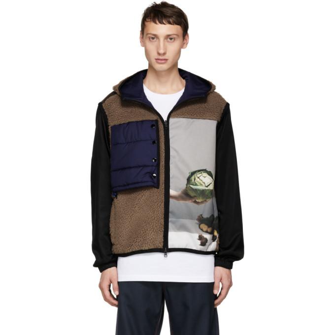 3.1 Phillip Lim Brown Reversible Hooded Sherpa Jacket