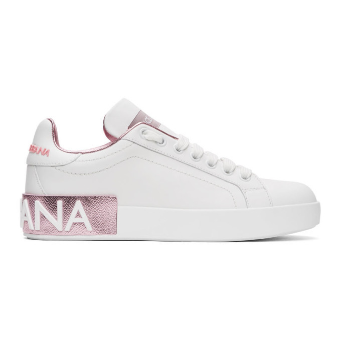 Photo: Dolce and Gabbana White and Pink Portofino Sneakers