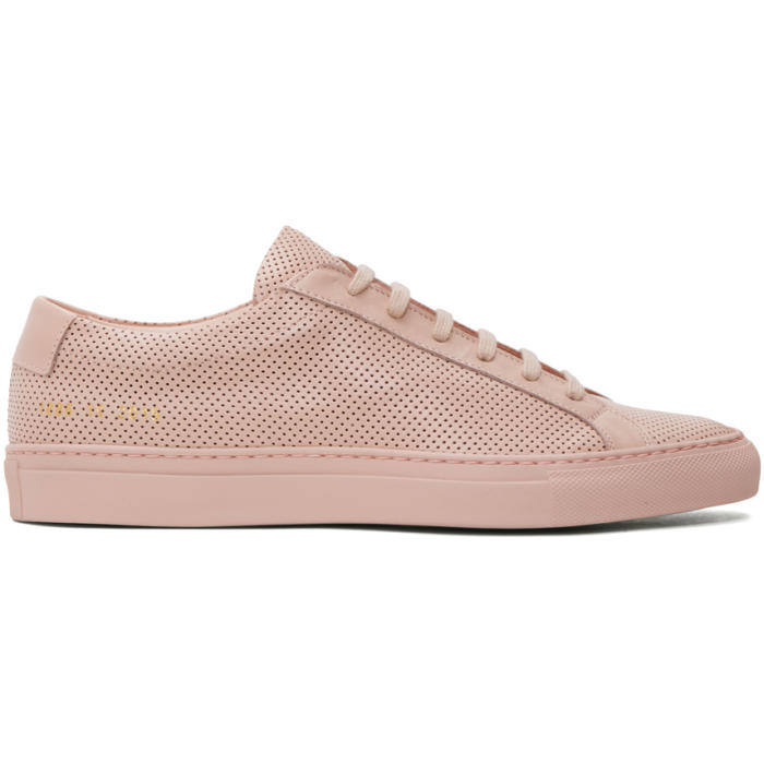 Common Projects Pink Perforated Original Achilles Low Sneakers