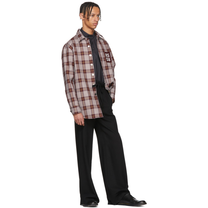 Raf Simons Brown Check Denim Shirt