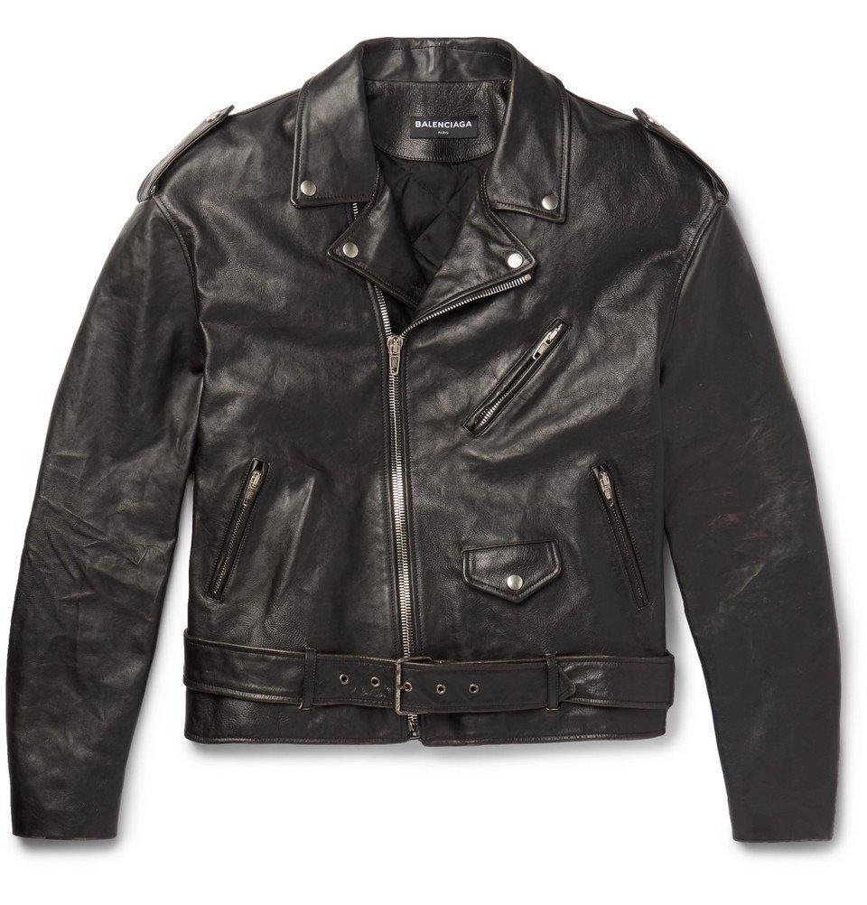 Photo: Balenciaga - Oversized Printed Leather Biker Jacket - Black