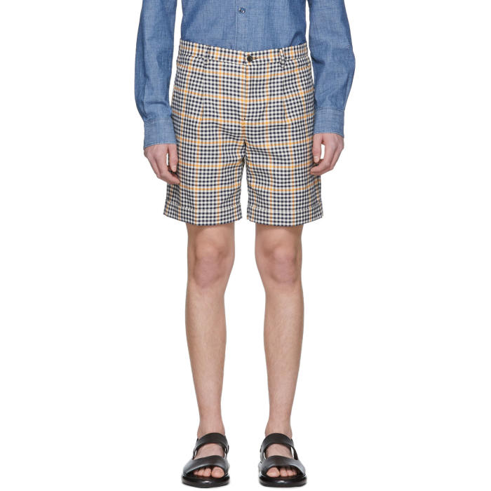 Photo: Éditions M.R  Navy and Yellow Check Pleated Shorts