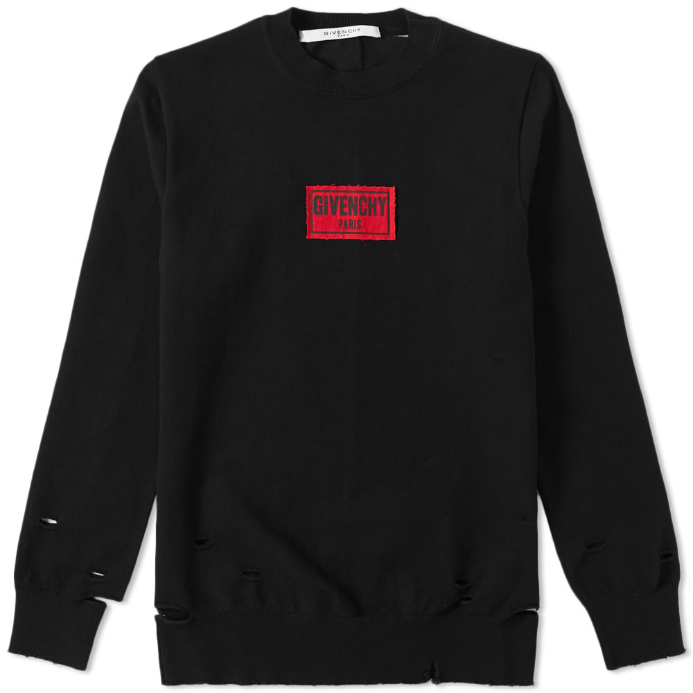 Photo: Givenchy Distressed Box Logo Crewneck Sweat