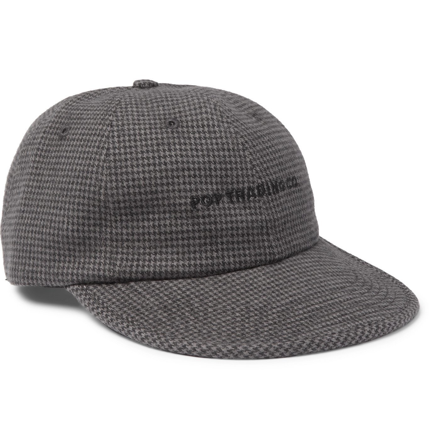 Photo: Pop Trading Company - Flexfoam 6 Logo-Embroidered Houndstooth Flannel Baseball Cap - Gray