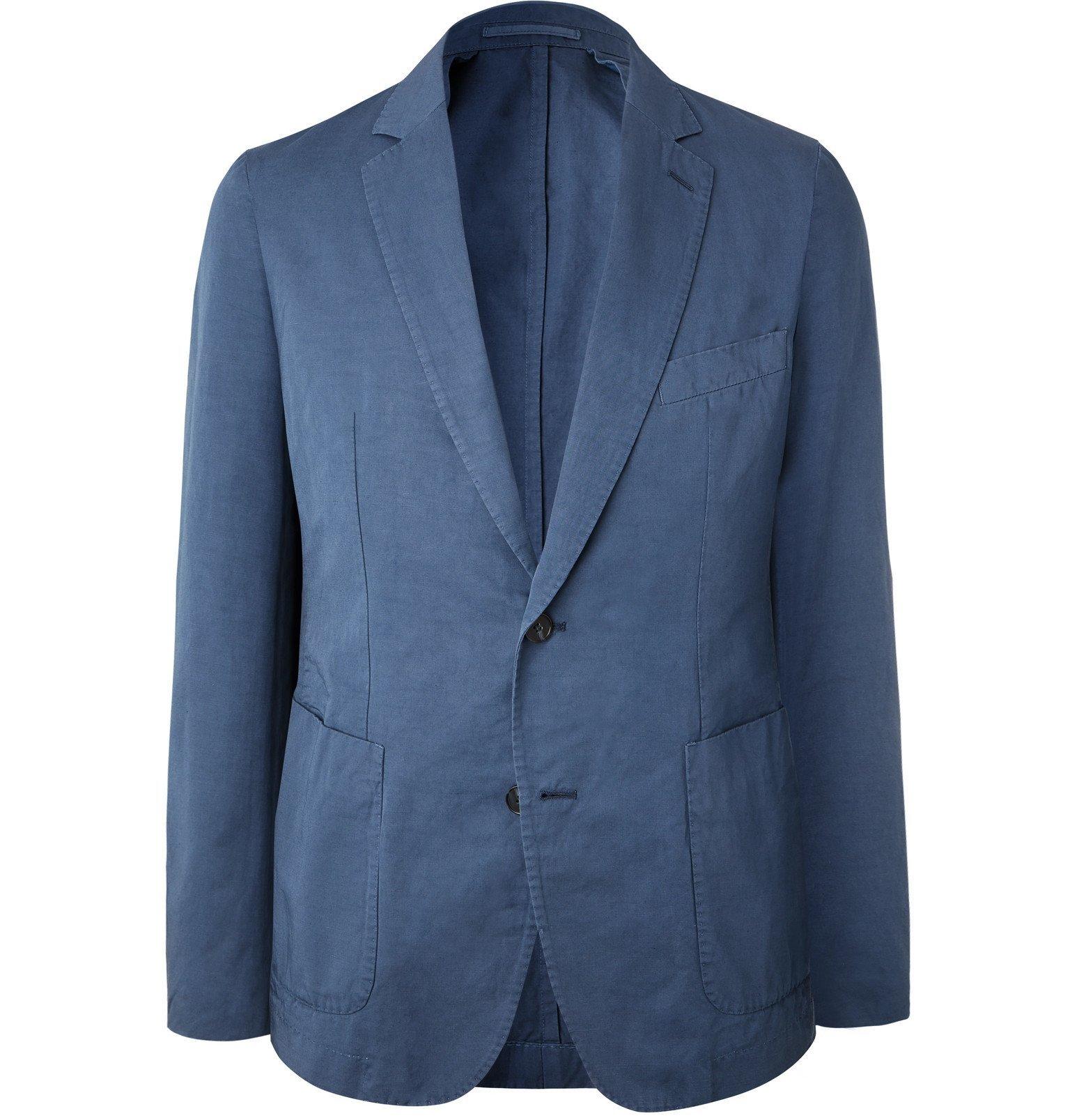 Photo: Officine Generale - Slim-Fit Garment-Dyed Cotton and Linen-Blend Suit Jacket - Blue