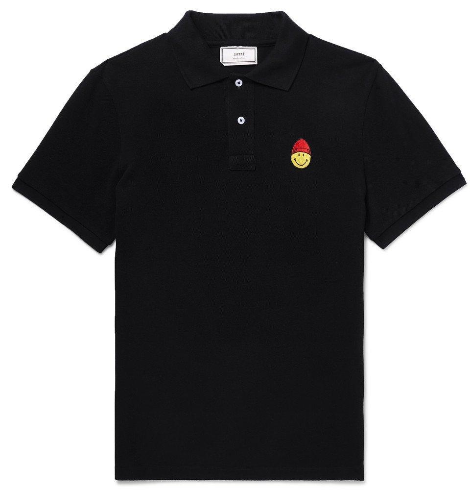 Photo: AMI - The Smiley Company Logo-Appliquéd Cotton-Pique Polo Shirt - Black