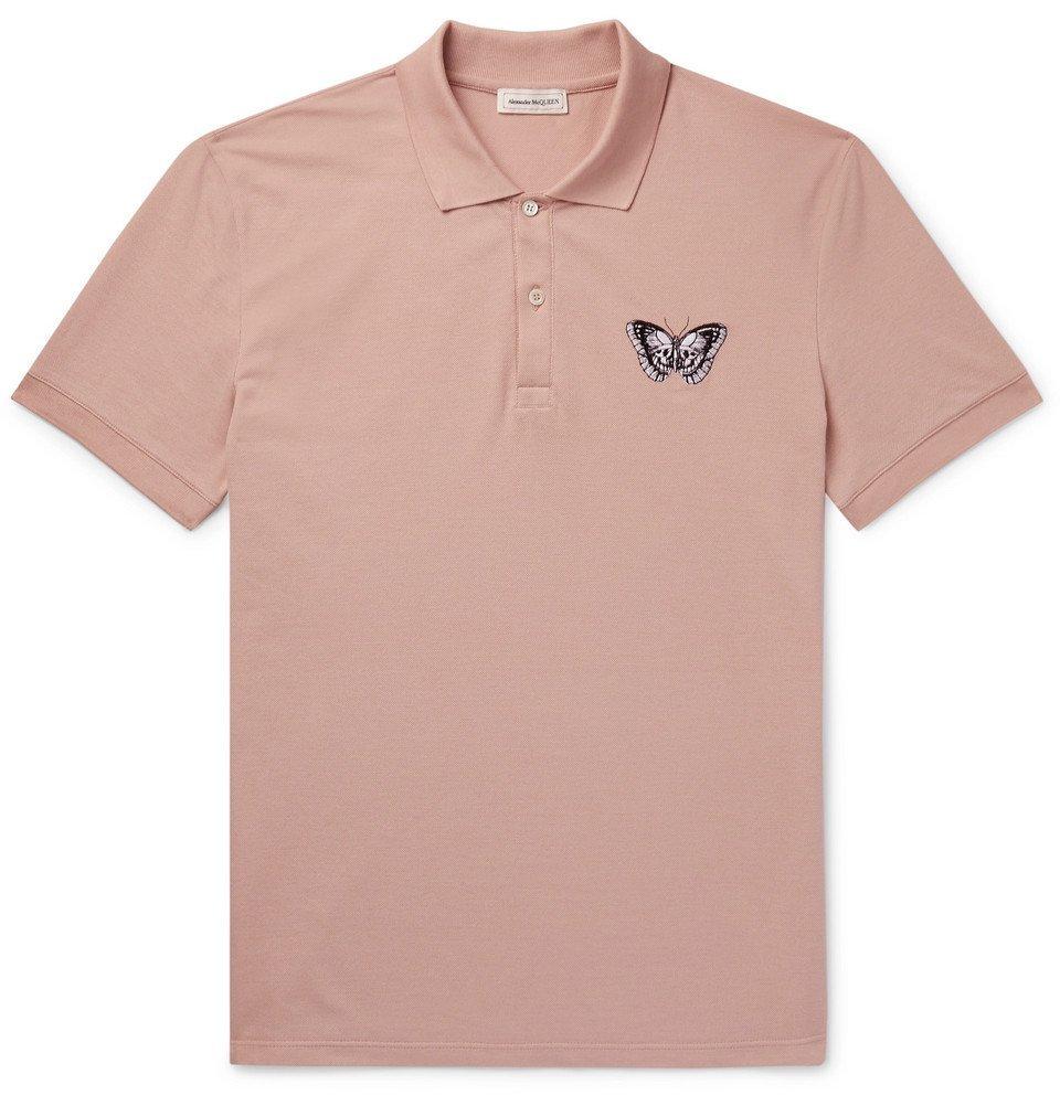 Photo: Alexander McQueen - Embroidered Cotton-Piqué Polo Shirt - Pink