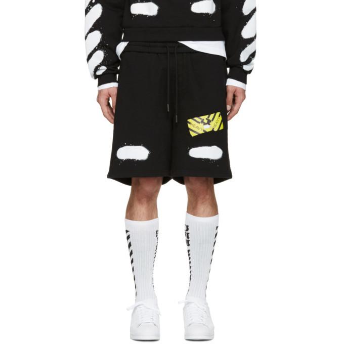 Photo: Off-White Black Spray Brushed Diagonals Shorts