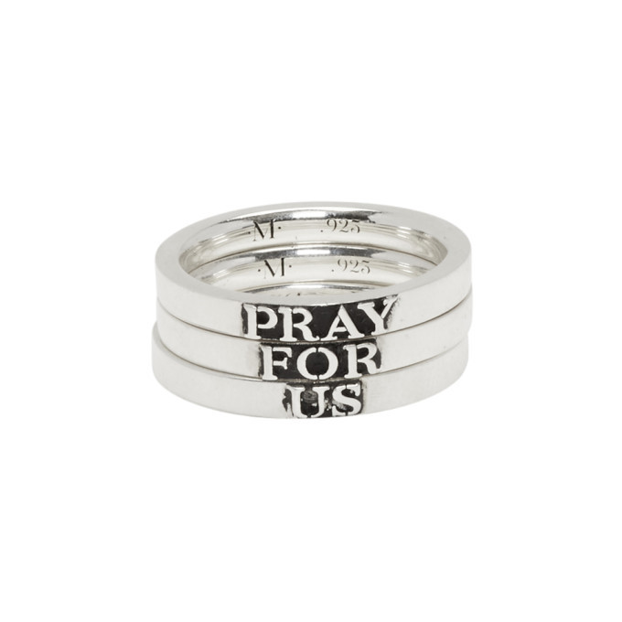 Photo: Martyre Silver Pray For Us Stack Ring Set