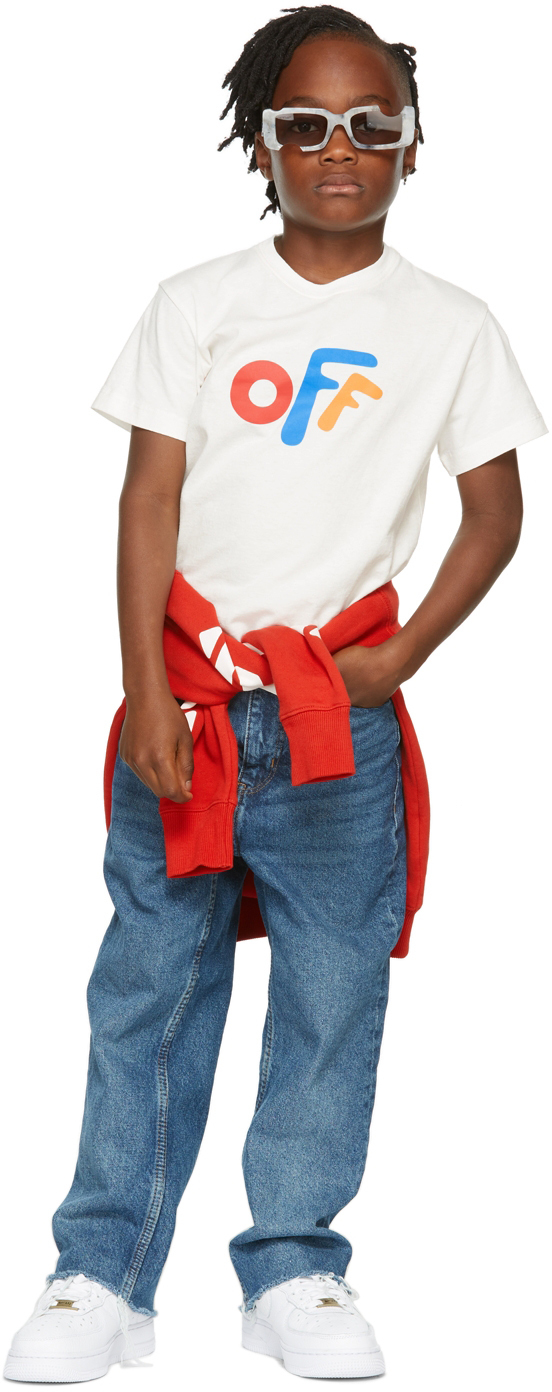 Photo: Off-White Kids White Rounded 'Off' T-Shirt