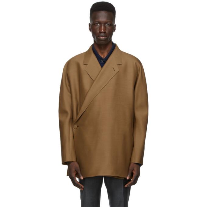 Dunhill Tan Cropped Kimono-Wrap Blazer