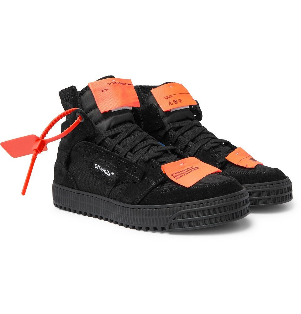 Photo: Off-White - Off-Court 3.0 Suede, Leather and Canvas High-Top Sneakers - Black
