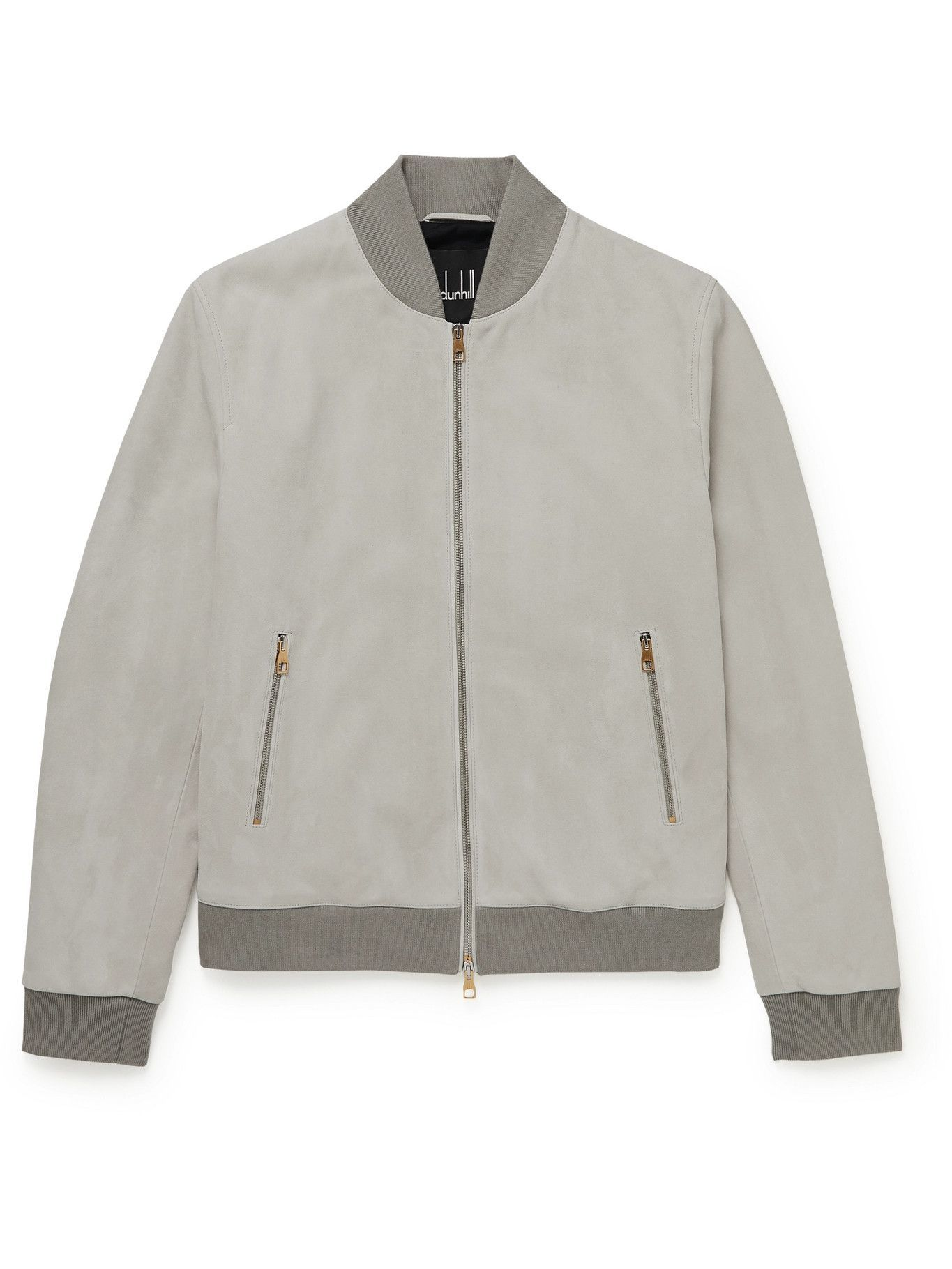 DUNHILL - Suede Bomber Jacket - Gray