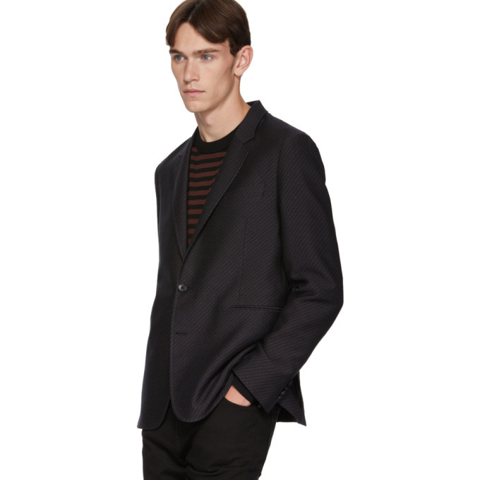 PS by Paul Smith Navy and Brown Wool Zig-Zag Mid-Fit Blazer
