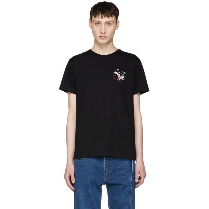 Photo: Carne Bollente Black Un Petite Doigt Pour LHomme Embroidered T-Shirt