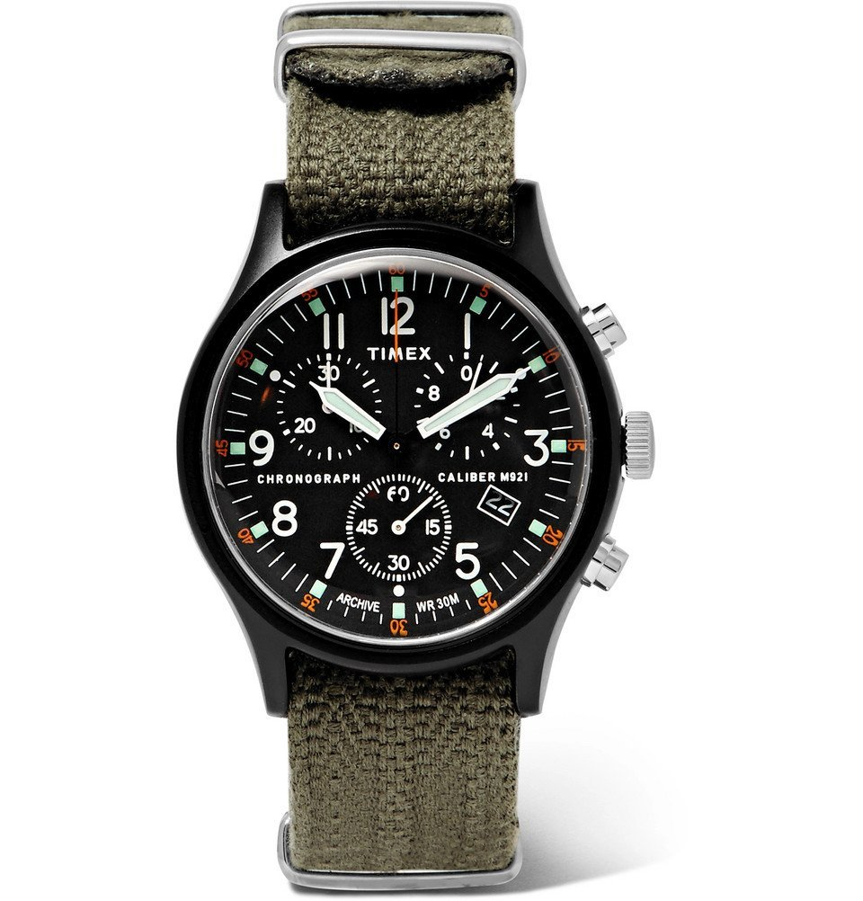 Photo: Timex - MK1 Camper Chronograph 40mm Aluminium and Webbing Watch - Black