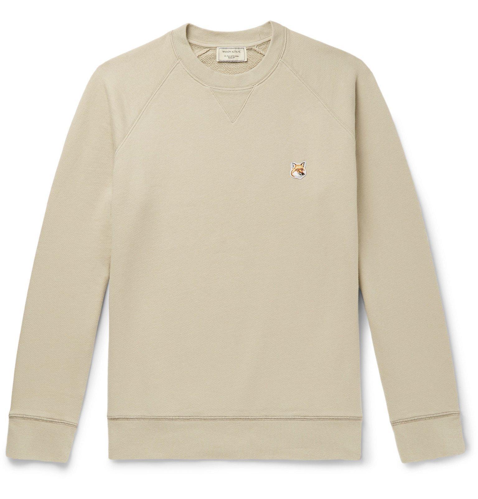 Photo: Maison Kitsuné - Logo-Appliquéd Loopback Cotton-Jersey Sweatshirt - Neutrals