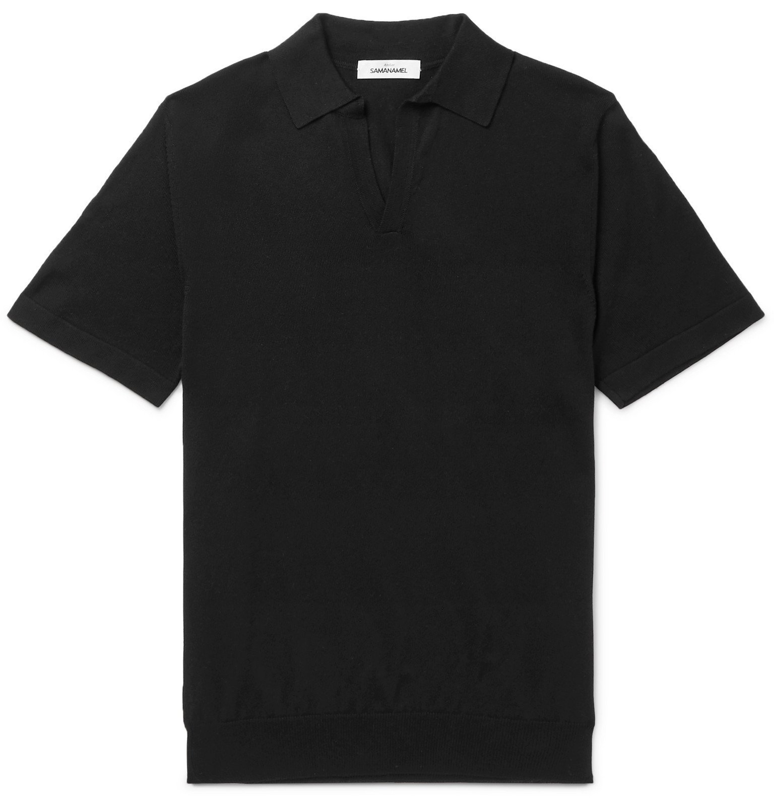 Photo: Saman Amel - Slim-Fit Mercerised Cotton and Silk-Blend Polo Shirt - Black
