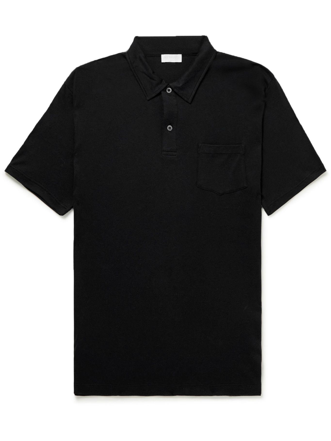 Photo: SUNSPEL - Slim-Fit Sea Island Cotton-Jersey Polo Shirt - Black