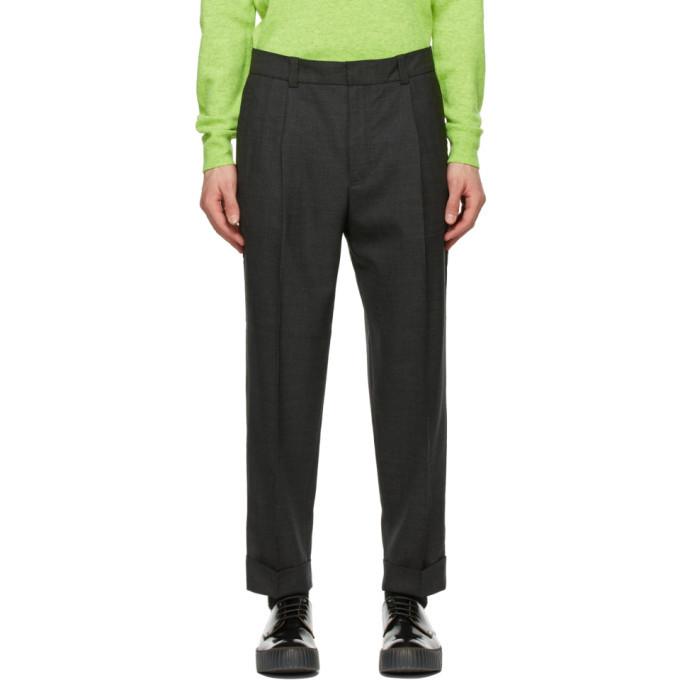 Photo: Acne Studios Grey Wool Tapered Trousers