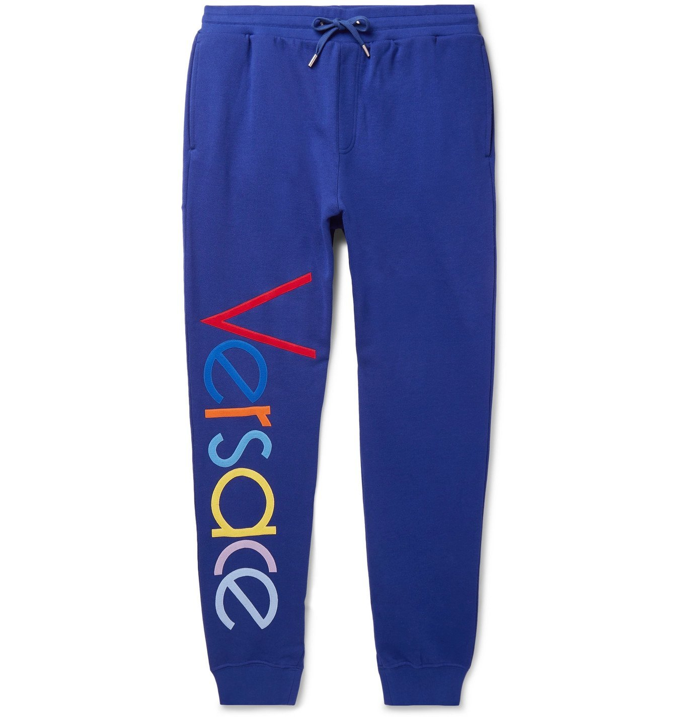 Photo: Versace - Tapered Logo-Embroidered Fleece-Back Cotton-Jersey Sweatpants - Blue